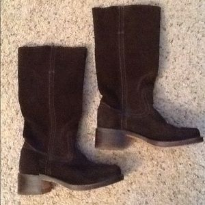 FRYE SUEDE LEATHER BROWN RIDING BOOTS, LIKE NEW!